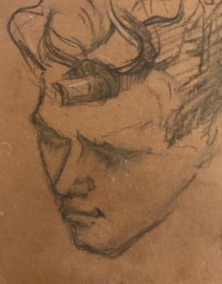 Achterzijde Schets van Evert (1920) door Lucie van Dam van Isselt
