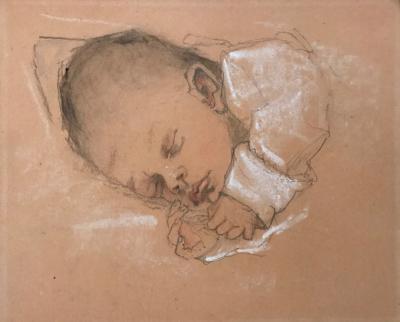 Barbara, Lucie's kleindochter (1932) door Lucie van Dam van Isselt