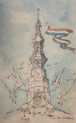 Groet uit Veere aan Middelburg door Lucie van Dam van Isselt