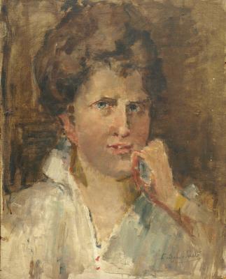 Portret onbekende vrouw (ca. 1935) door Lucie van Dam van Isselt
