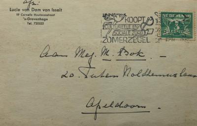 Adressering Briefkaart aan M. Bok (1941) door Lucie van Dam van Isselt