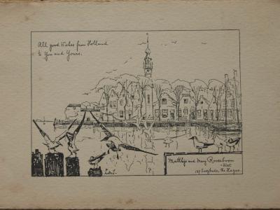 Ontwerp kerstkaart Rooseboom II (ca. 1920-1925) door Lucie van Dam van Isselt