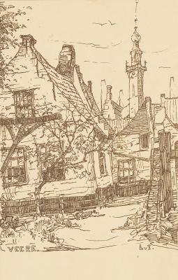 Stadhuistoren Veere met woonhuis (1910-1915) door Lucie van Dam van Isselt