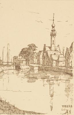 Spuikom Veere (ca. 1910-1915) door Lucie van Dam van Isselt