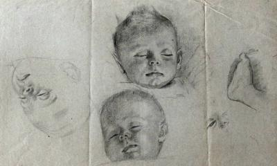 Studie slapend kind II (ca. 1915-1920) door Lucie van Dam van Isselt