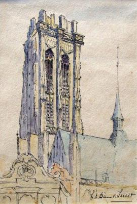 St. Romboutstoren te Mechelen (ca. 1925) door Lucie van Dam van Isselt