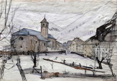 Winters gezicht op Valloires door Lucie van Dam van Isselt