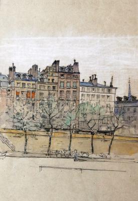 Parijs, Quai des Grands Augustins door Lucie van Dam van Isselt