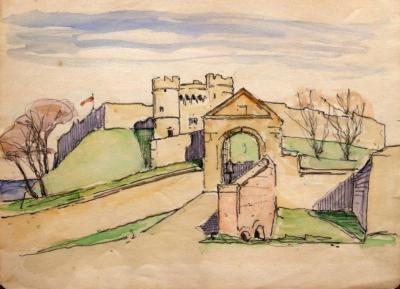Landschap met citadel door Lucie van Dam van Isselt
