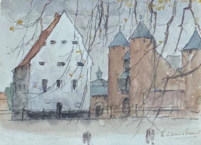 Gezicht op de Helpoort in Maastricht door Lucie van Dam van Isselt