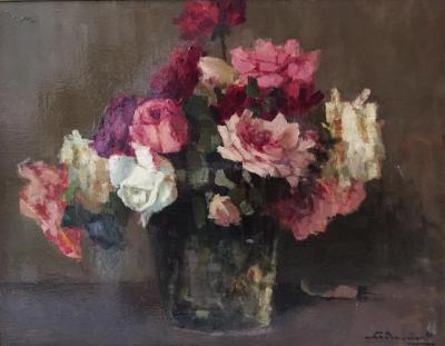 Rozen in glas door Lucie van Dam van Isselt