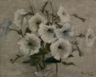 Witte petunia's door Lucie van Dam van Isselt