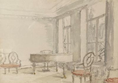 Interieur met vleugel (ca. 1946-1948) door Lucie van Dam van Isselt