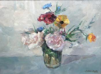Welkende rozen in glas (1937) door Lucie van Dam van Isselt