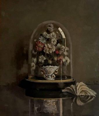 Boeket onder glazen stolp met schelp (ca. 1920) door Lucie van Dam van Isselt