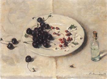 Kersen op wit bord (1947-1948) door Lucie van Dam van Isselt