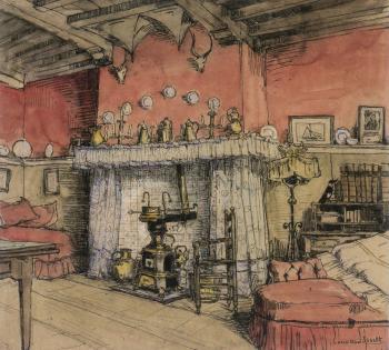 Schotse Huizen, schouw achterkamer door Lucie van Dam van Isselt