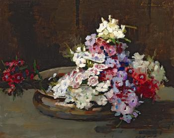 Bloemen in schaal door Lucie van Dam van Isselt