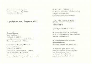 Uitnodiging tentoonstelling (1999) Lucie van Dam van Isselt