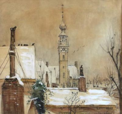 Veere in de sneeuw III (ca. 1925) door Lucie van Dam van Isselt