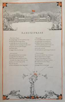 Illustratie rijmprent door Nijhoff ter gelegenheid van de geboorte van prinses Beatrix (1938) door Lucie van Dam van Isselt