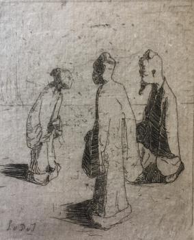 Drie Chinese figuren (1908-1910) door Lucie van Dam van Isselt