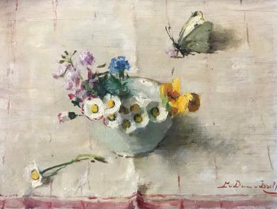 Veldbloemen in wit kommetje (1918-1919) door Lucie van Dam van Isselt