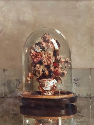 Pronkbouquet onder glazen stolp (ca. 1920) door Lucie van Dam van Isselt