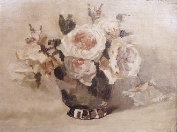 Witte roos (ca. 1920) door Lucie van Dam van Isselt