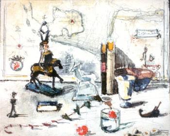 Studie voor Sentimental painting (1948) door Lucie van Dam van Isselt